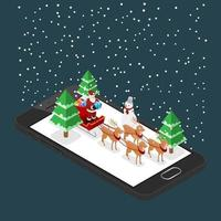 Isometric 3d Santa claus brings a gift by his six reindeers and sleigh on a black mobile phone in Christmas theme, Illustration flat vector design.