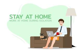 Young businessman is sitting and working with laptop on the sofa at home with his dog. Online job in social for safety and to protect him from Coronavirus. Vector illustration flat design.