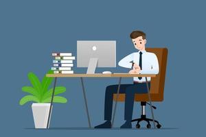 El empresario mira su reloj para comprobar la hora y espera a un compañero de trabajo o su distribuidor aproximadamente minuto a hora. vector