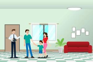 The realtor shows the new beautiful modern residence for sale to client with family. Vector illustration in flat design.