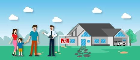 The realtor shows the new beautiful modern Real Estate for sale to client with family. Vector illustration in flat design.