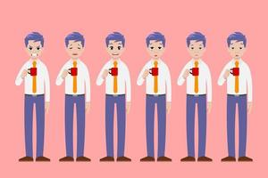 Businessman stands and holds a cup of coffee drink in different poses gesture and shows many face emotions. vector
