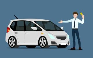 A happy businessman, salesman presents his vehicle to sell or rent. Business people or car dealer, shows his new car in show room. Vector illustration design.