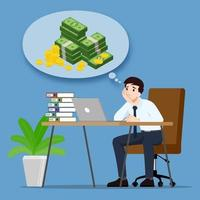hombre de negocios pensando o soñando con ingresos de ganancias monetarias y quiere ser rico. un empleado tiene la meta de ser exitoso y más rico. diseño de ilustración vectorial. vector