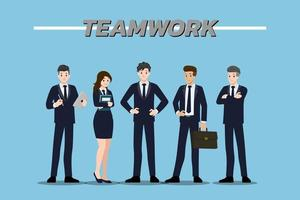 Flat design concept of Businessman and Businesswoman teamwork with different poses, working and presenting gestures, actions and poses. Vector cartoon character design set.