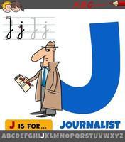 letra j del alfabeto con la palabra periodista vector