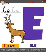 letter E from alphabet with cartoon elk animal character vector