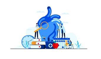investigación del estudio del médico de la ilustración plana de la enfermedad cardíaca para el diseño del concepto del tratamiento
