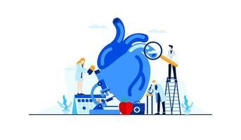 investigación de estudio del médico de ilustración plana de enfermedad cardíaca para el diseño de concepto de tratamiento