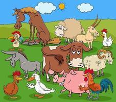Grupo de personajes de cómic de animales de granja de dibujos animados vector