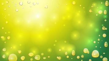 Burbujas de oro de aceite de cannabis sobre fondo verde borroso, efecto vectorial realista. plantilla en blanco con gotas de aceite en el agua, espacio de copia y efecto de lámpara de lava vector