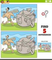 differences educational game with caveman and mammoth vector