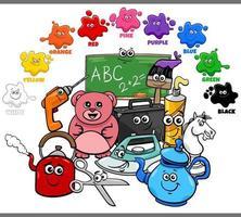 colores básicos para niños con grupo de personajes objeto vector