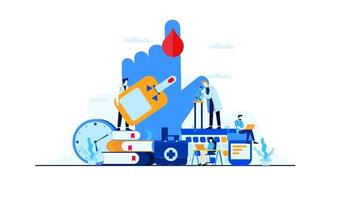 diabetes vector flat illustration blood test sugar level doctor's research for treatment concept design