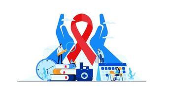 flat cancer disease, illustration of medical cancer research vector design