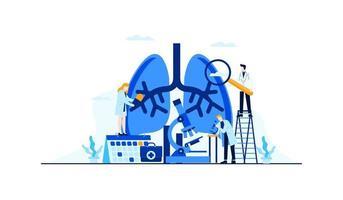 Investigación del médico de ilustración plana de vector de enfermedad pulmonar para el diseño de concepto de tratamiento