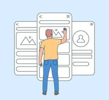 Mobile app development concept. Usability testing mobile screen with people. Development software application ui and ux interface page. Flat vector illustration