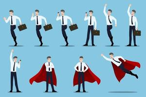 Flat design concept of Businessman with different poses vector