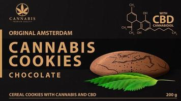 Cannabis cookies, black package with cannabis cookies and marijuana leaf. Black cover design for cannabis products vector