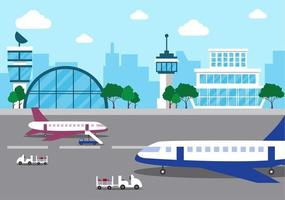 Airport Terminal Building with Infographic Aircraft Taking off vector