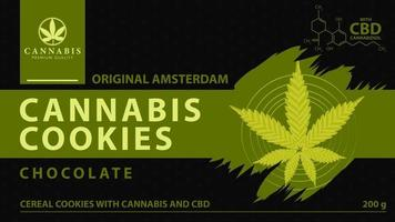 Cannabis cookies, black and green cover for cannabis store with digital marijuana leaf in low poly style. vector