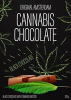Cannabis chocolate, black package design with cannabis chocolate bar and marijuana leafs in doodle style on background. Black cover design for cannabis products vector
