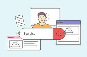 Concept of information or data organization or optimization, search. Young smiling man browsing Internet. vector