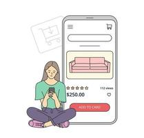 E-commerce on smartphone concept. Young woman makes purchases via phone online, choosing product. Shopping cart with furniture.  Flat vector illustration