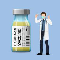 The doctor standing beside a large COVID-19 vaccine bottle with a syringe and do a hand made a sign of good. vector