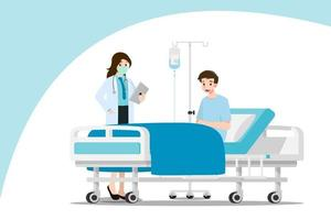 The doctor with mask visits and treats the patient who is resting on the bed in the hospital room. vector