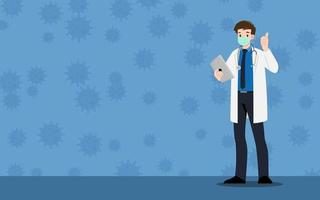 Doctor wear protection surgery mask against the virus. The fight against coronavirus infographic banner. vector