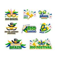 Rio Festival Brazil Sticker Set vector