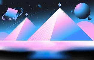 pirámide retro en el fondo de estilo futurista vector