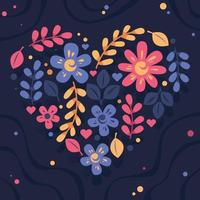 Flat Colorful Valentine's Flower And Leaves vector