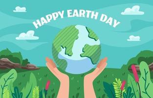 Flat Happy Earth Day vector
