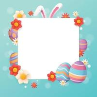 Easter Egg Template Background With Beautiful Flower vector
