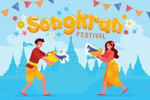 Man and Woman Splashing Water on Songkran Festival vector