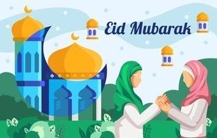 Happy Eid Mubarak in Flat Design vector