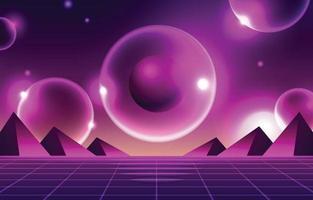 Futurismo retro formas concepto de fondo en colores morados vector