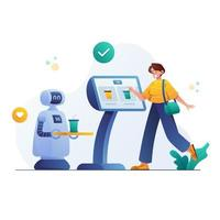 Purchasing Drink at Automatic Service Robot Machines vector