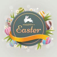 Happy Easter Greeting With Eggs And Bunny vector