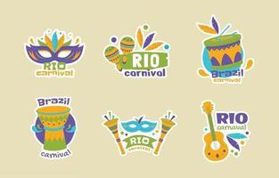 Rio Carnival Sticker Set vector