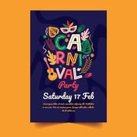 Carnival Party Poster with Floral Background vector