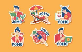 Fomo Vs Jomo Sticker Set vector
