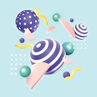 Concepto de fondo de formas geométricas 3d en colores pastel vector