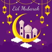 eid mubarak en estilo de diseño plano vector
