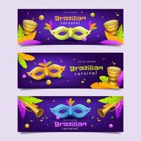 Realistic Rio Brazilian Carnaval Banner vector