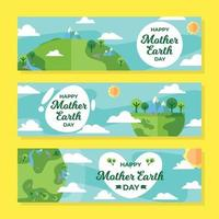 Flat Design Mother Earth Day Banner vector