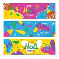 Holi Festival Banner Collection vector