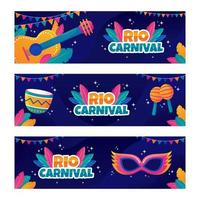 Rio Festival with Colorful Icons vector